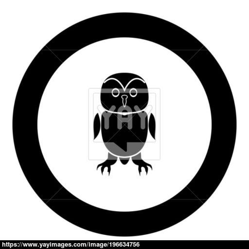 Owl Black Icon In Circle Vector Illustration Vector