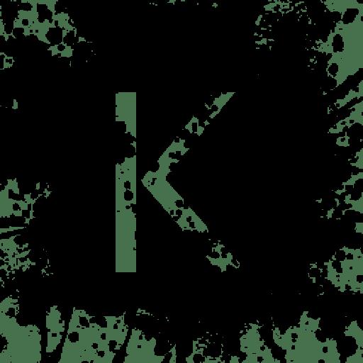 Cropped Black Paint Splatter Icon Alphanumeric Letter Kk