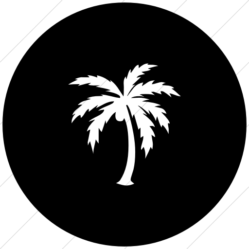 Flat Circle White On Black Classica Palm Tree Icon