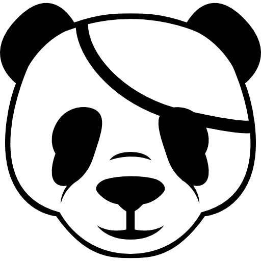 Pirate Panda Frontal Head Icons Free Download