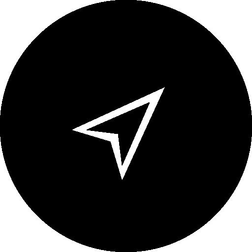 Arrow Or Paper Plane Shape In Black Circular Button