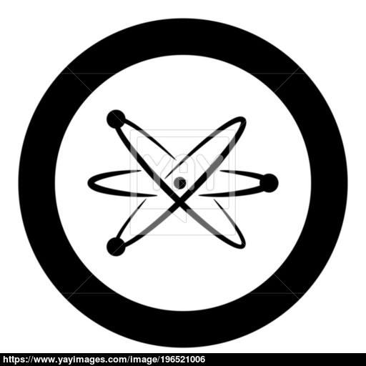 Atom Icon Black Color In Circle Vector