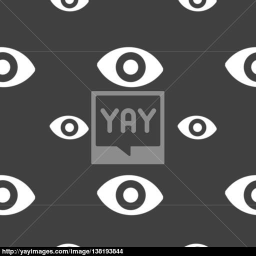 Sixth Sense, The Eye Icon Sign Seamless Pattern On A Gray