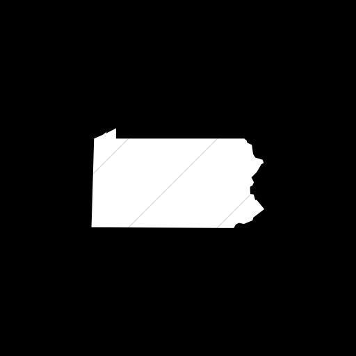 Flat Circle White On Black Us States Pennsylvania Icon