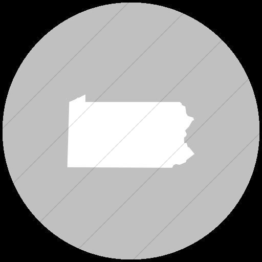 Flat Circle White On Silver Us States Pennsylvania Icon