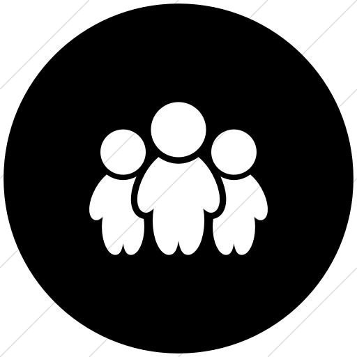 Flat Circle White On Black Raphael People Icon