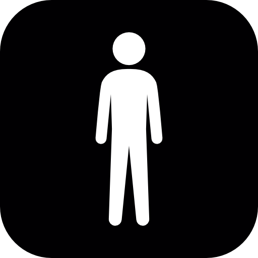 Standing Man White Silhouette In A Black Rounded Square Icons