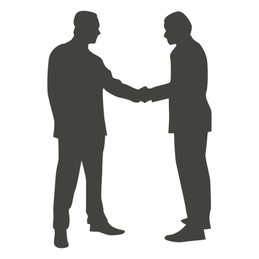 Two Businessmen Shaking Hands Silhouette