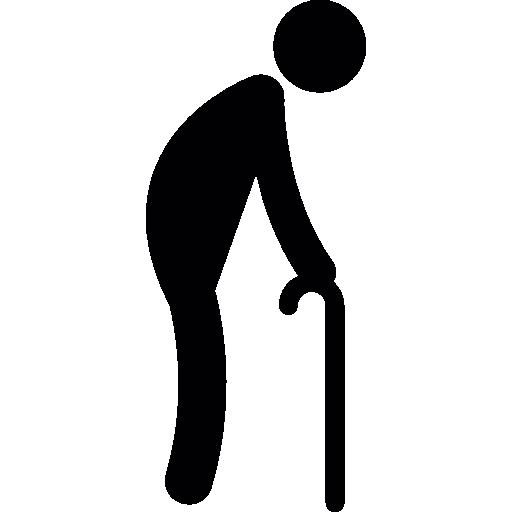 Old Man Walking With A Crutch