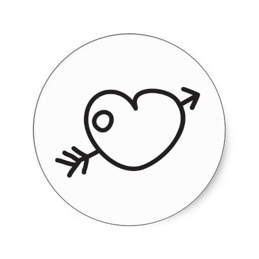 Doodle Hand Drawn Love Heart With Arrow Stickers Neo Petroglyph