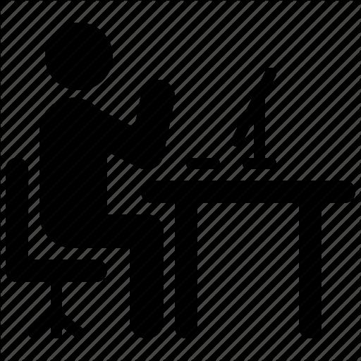 Computer, Desk, Man, Thinking, Work, Working, Workplace Icon