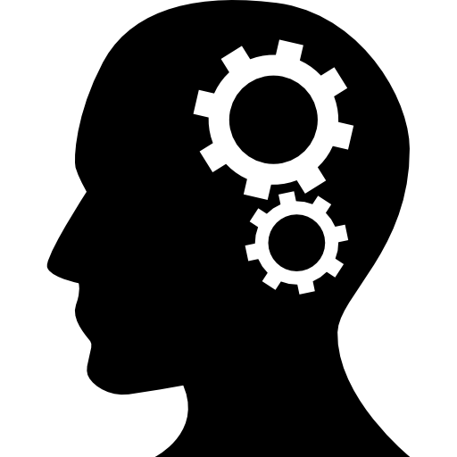 Human Head Silhouette With Cogwheels Icons Free Download