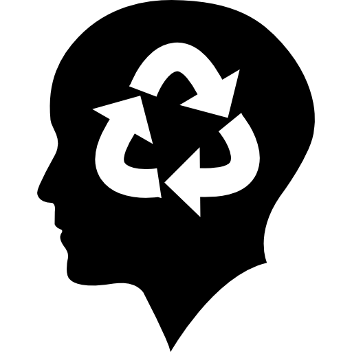 Bald Person Head With Recycle Symbol