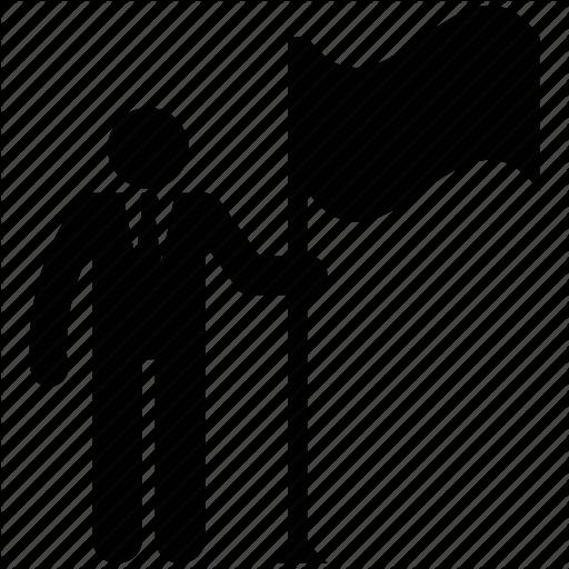 Businessman, Businessman Silhouette, Man With Flag Icon