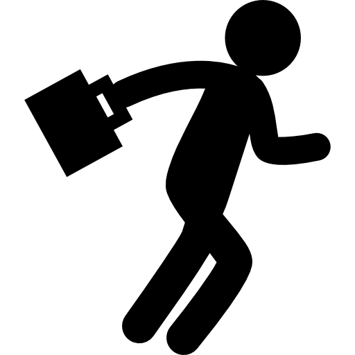 Man Silhouette Walking With Suitcase Icons Free Download