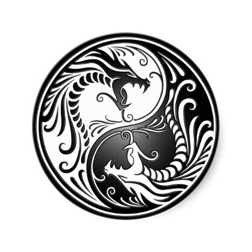 Yin Yang Dragons Flower K Tatuagem Designs