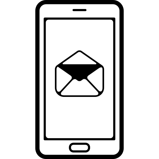 Mobile Phone Outline With An Email Envelope Opened Symbol
