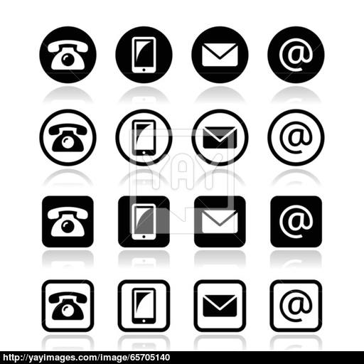 Contact Icons In Circle And Square Set