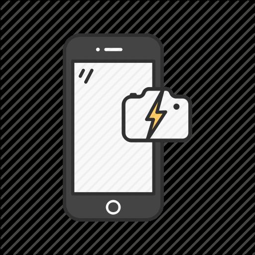 Camera With Flash, Capture, Phone, Phone Camera Icon