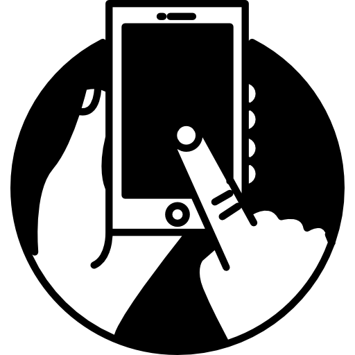 Touch Screen Phone In Human Hands Inside A Circle Icons Free