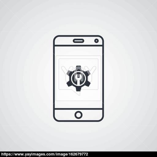 Mobile Phone Cog Setting Icon Theme Vector