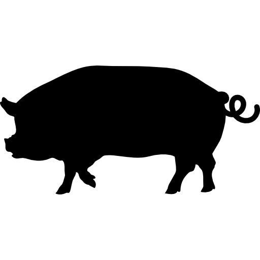 Pig Side View Silhouette Icons Free Download