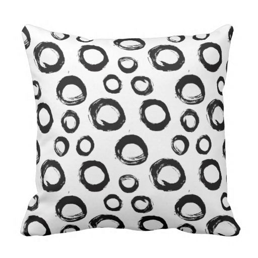 Modern Black And White Painted Circles Pattern Throw Pillow