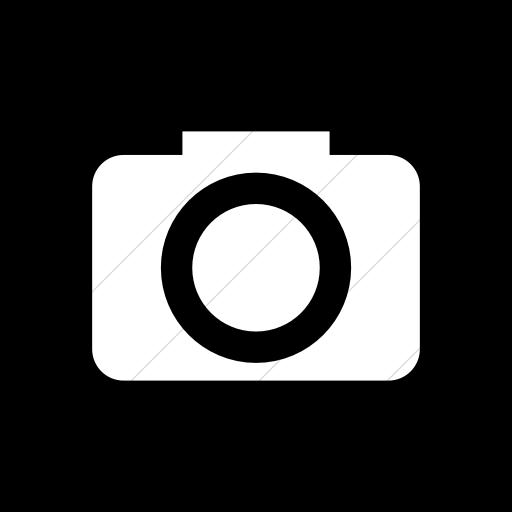 Flat Rounded Square White On Black Raphael Camera Icon