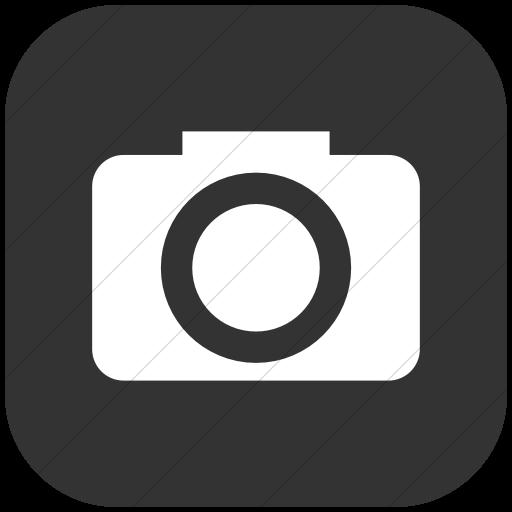 Flat Rounded Square White On Dark Gray Raphael Camera Icon