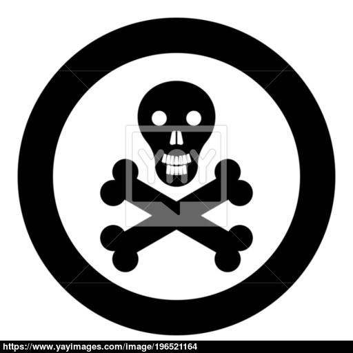 Skull And Bones Icon Black Color In Circle Vector