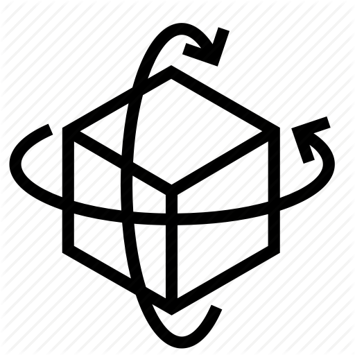 Around, Axis, Box, Cube, Pivot, Rotate, Rotation Icon