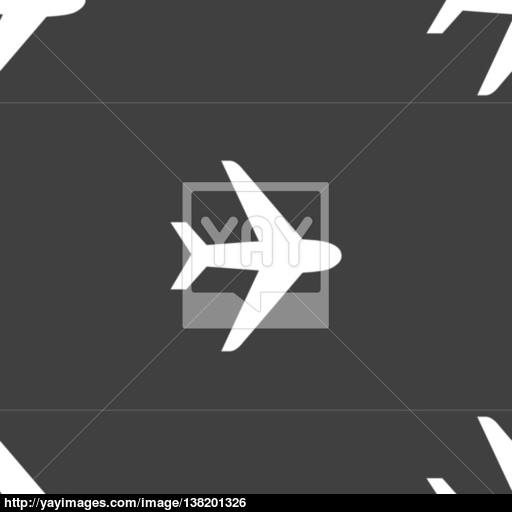 Plane Icon Sign Seamless Pattern On A Gray Background Vector