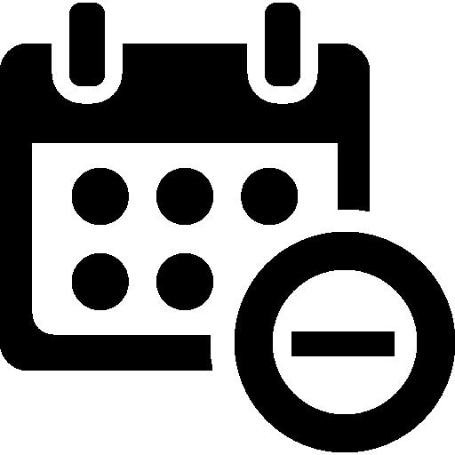 Minus Calendar Interface Symbol Icons Free Download