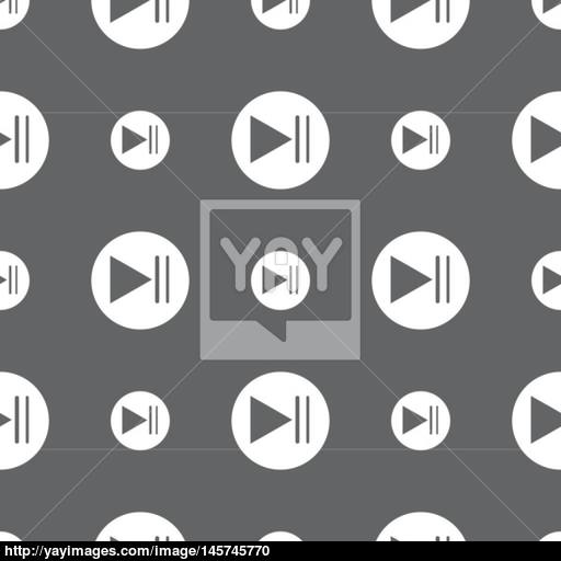 Play Button Icon Seamless Pattern On A Gray Background Vector
