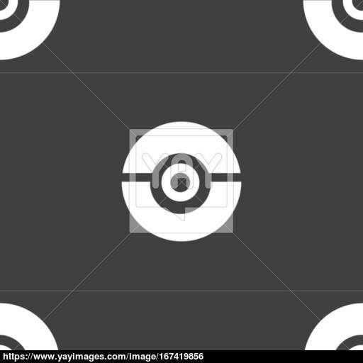 Pokeball Icon Sign Seamless Pattern On A Gray Background Vector