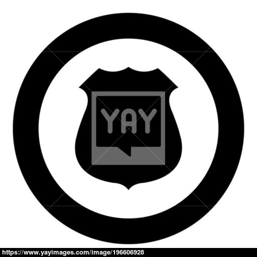 Police Badge Black Icon In Circle Vector Illustration Isolated