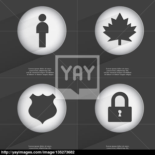 Silhouette, Maple Leaf, Police Badge, Lock Icon Sign Set