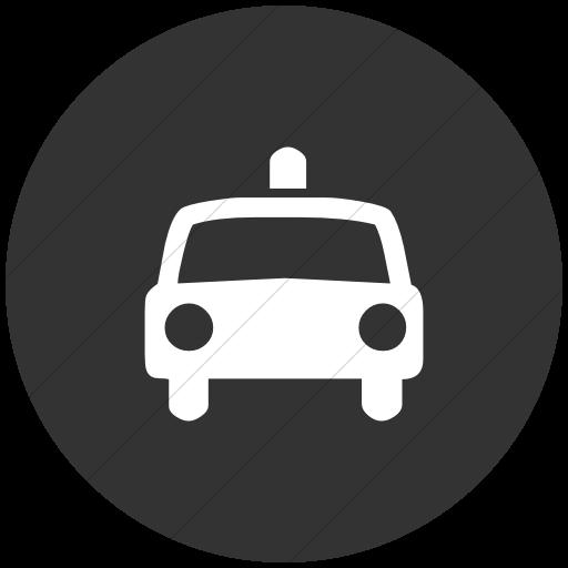 Flat Circle White On Dark Gray Classica Police Car Icon