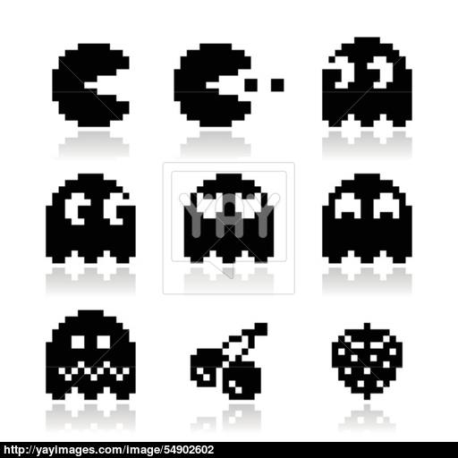 Pacman, Ghosts, Retro Game Icons Set Vector