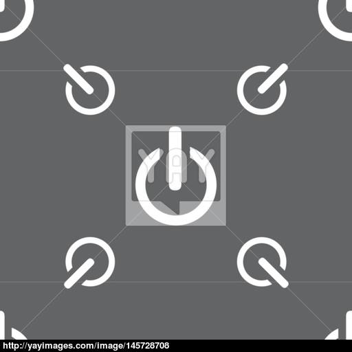 Power Sign Icon Switch Symbol Seamless Pattern On A Gray