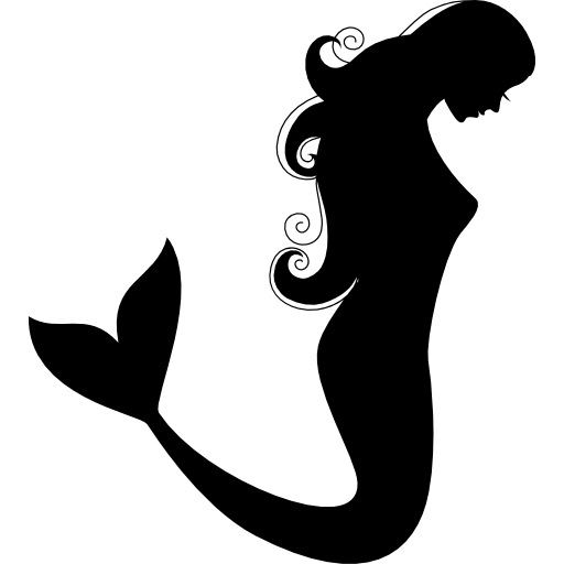 Mermaid Side View Silhouette Icons Free Download