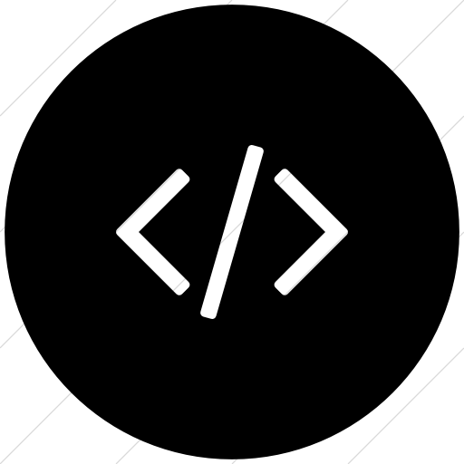 Flat Circle White On Black Bootstrap Font Awesome Code Icon