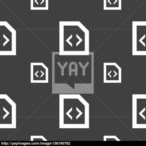 Programming Code Icon Sign Seamless Pattern On A Gray Background