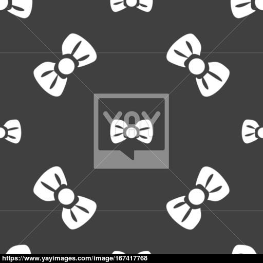 Bow Tie Icon Sign Seamless Pattern On A Gray Background Vector