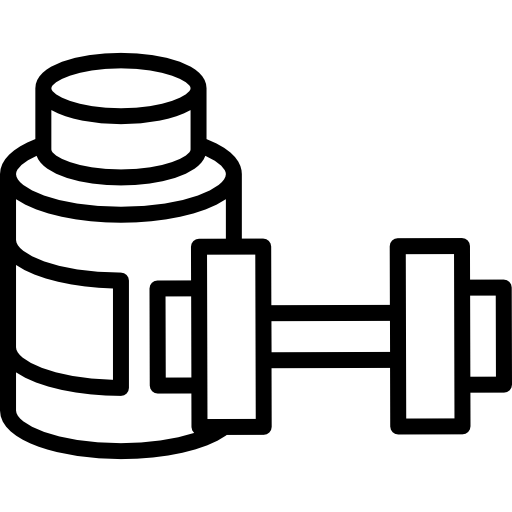 Protein Shake And Dumbbell Icons Free Download
