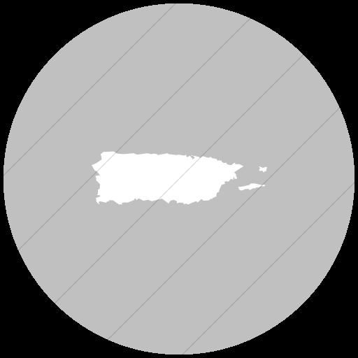 Flat Circle White On Silver Us States Puerto Rico Icon