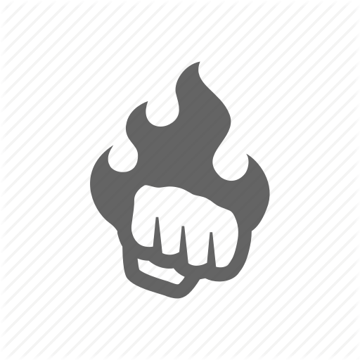 Fire, Fist, Hand, Hit, Power, Punch, Strike Icon