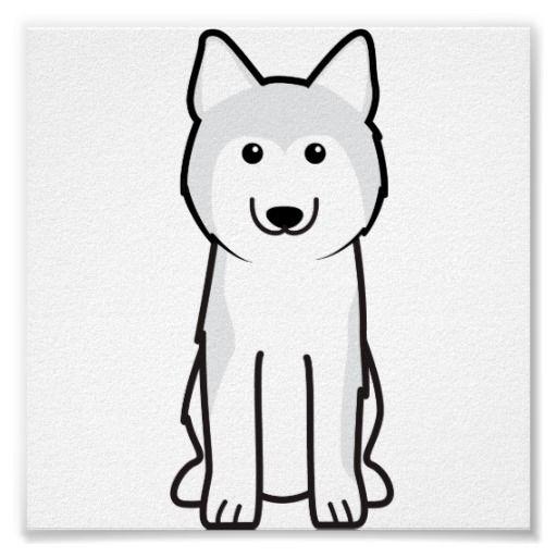Siberian Husky Dog Cartoon Poster Embroidery Design