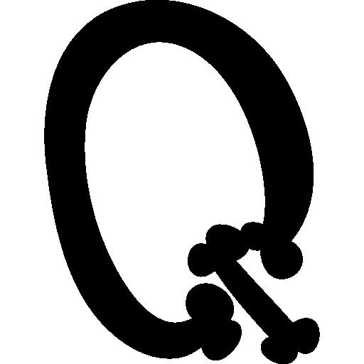 Halloween Bones Typography Q Letter
