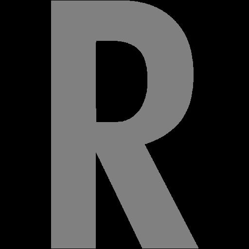 Gray Letter R Icon